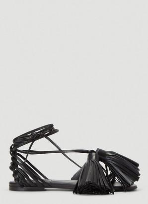 Jil Sander Ankle-Wrap Tassel Sandals