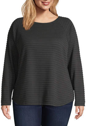 ST. JOHN'S BAY Sjb Active Active Plus-Womens Round Neck Long Sleeve T-Shirt