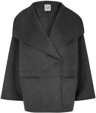 Totême Annecy grey draped wool-blend jacket