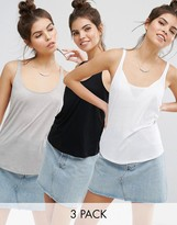 Asos Swing Tank With Skinny Straps 3 Pack
