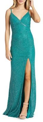 Mac Duggal Lattice Front-Slit Beaded Gown
