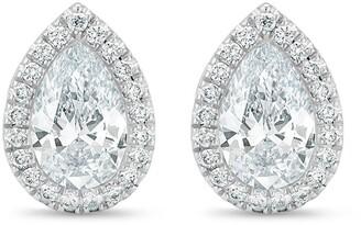 De Beers 18kt white gold Aura pear-shaped diamond stud earrings