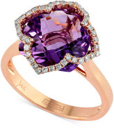 Effy Lavender Rosé by Amethyst (5-3/4 ct. t.w.) and Diamond (1/5 ct. t.w.) Clover Ring in 14k Rose Gold