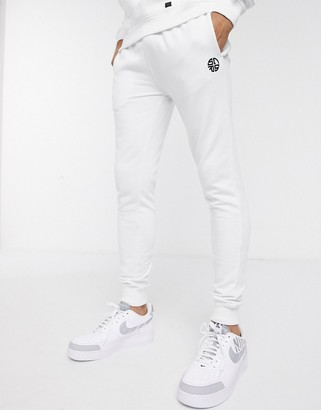 Soul Star mix and match slim fit jogger in white
