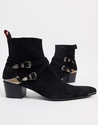 Jeffery West sylvian buckle cuban chelsea boots in black suede