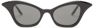 Gucci Winged Cat-eye Acetate Sunglasses - Womens - Black Grey