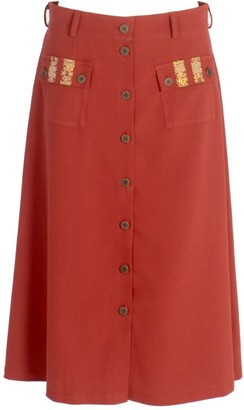 Relax Baby Be Cool A-Line Wool Button Up Midi Skirt With Pockets Burgundy