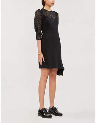 Sandro Crochet-panel crepe mini dress