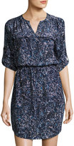 Rebecca Taylor Long-Sleeve Floral-Print Silk Dress, Blue/Black
