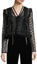 Alexis Clementine V-Neck Dotted Mesh Blouse