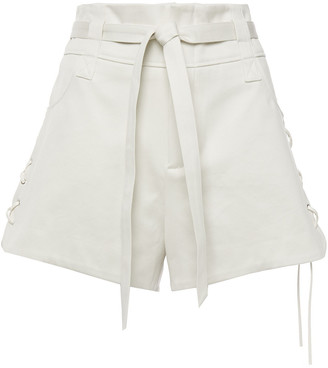 IRO Poetic Belted Lace-up Cotton-twill Shorts