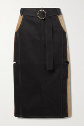 ANDERSSON BELL Nadia Paneled Cutout Denim And Velvet Midi Skirt