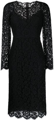 Dolce & Gabbana Floral Lace Long-Sleeve Dress