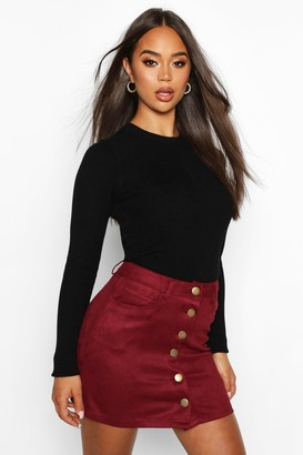 boohoo Bonded Suede Button Through Mini Skirt