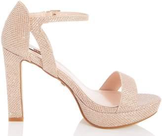 Dorothy Perkins Womens *Quiz Rose Gold Shimmer Platform Block Heel Sandals, Rose Gold