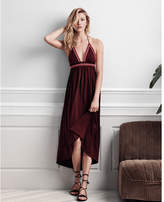 Express Contrast Embroidered Trim Halter Maxi Dress
