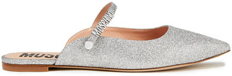 Moschino Glittered Faux Leather Mules