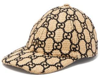Gucci GG-embroidered Woven Raffia Cap - Womens - Black