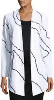 Ming Wang Contrast-Pattern Knit Jacket, White/Black