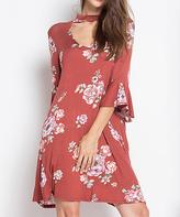 Blu Heaven Rust Floral Choker-Cutout Shift Dress
