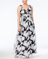 Betsy & Adam Plus Size Floral-Overlay Gown