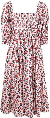 P.A.R.O.S.H. Floral-Print Smocked Midi Dress
