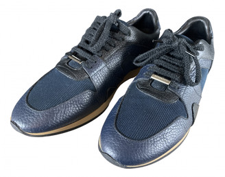 Burberry Navy Leather Trainers