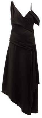 Jonathan Simkhai Satin Asymmetric Draped Midi Dress - Black