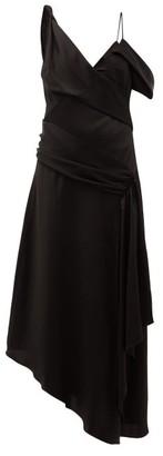 Jonathan Simkhai Satin Asymmetric Draped Midi Dress - Womens - Black
