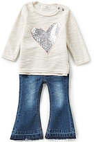 Jessica Simpson Baby Girls 12-24 Months Sequin-Heart Slub-Knit Tee and Flare-Leg Denim Jeans Set