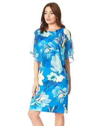 Roman Originals Roman Floral Overlay Chiffon Dress
