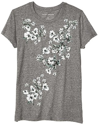 Lucky Brand Floral Panel Print (Heather Grey) Women's Clothing