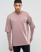 Asos Oversized Long Sleeve T-shirt With Rib Double Layer Sleeves In Pink