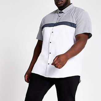 River Island Big and Tall white slim fit blocked shirt