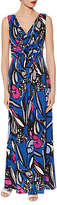 Gina Bacconi Abstract Floral Print Jersey Maxi Dress, Cobalt Blue