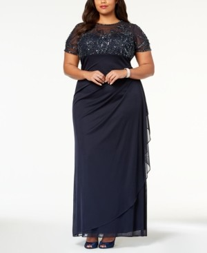 Xscape Evenings Plus Size Embellished Empire-Waist Gown