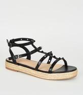New Look Leather-Look Stud Gladiator Espadrille Sandals