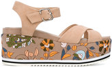 Steffen Schraut floral embroidery platform sandals - women - Cotton/Leather/Suede/Foam Rubber - 36