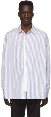 Juun.J Navy and White Striped Shirt