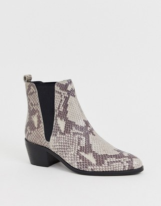 Dune Pride elastic gusset ankle boot in snake