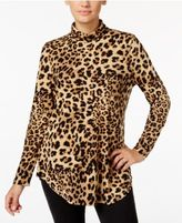 JM Collection Petite Animal-Print Turtleneck Top, Only at Macy's
