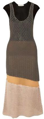 Chloé Color-block Burnout-effect Crocheted Cotton-blend Midi Dress