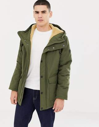 Esprit hooded parka with teddy lining in light khaki-Green