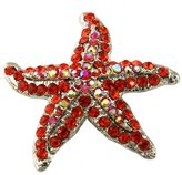 Red Starfish Charm Pin Brooch Wedding Bridesmaid Prom Fashion Jewelry Necklace Pendant Compatible