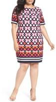 Eliza J Plus Size Women's Biorder Print Shift Dress