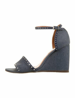 Lanvin Canvas Studded Wedges