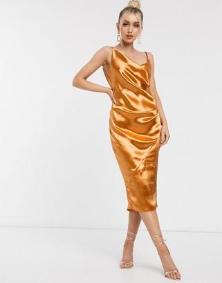 ASOS DESIG ASOS DESIGN drape slip midi dress in high shine sati