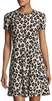 Eliza J Leopard-Print Fit-and-Flare Dress, Animal