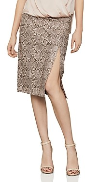 BCBGMAXAZRIA Faux-Leather Snake Print Pencil Skirt