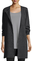 Eileen Fisher 3/4-Sleeve Shale Jacquard Jacket, Charcoal, Plus Size